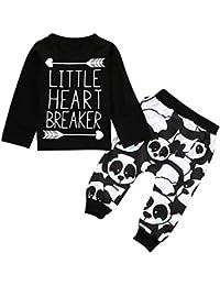 SMARTLADY Bebé Niños Camisetas de manga larga del Patrón de letra+ Pantalones de Patrón de panda(3PC/SET )