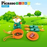 PicassoTiles PTC07 7 Piece Camping Gear Tools Adventure Set Including Toy Gas Stove