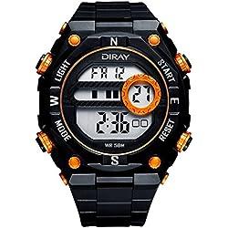 Unisex Sport Watch Multifunction Led Light Digital Waterproof Wristwatch(Orange)