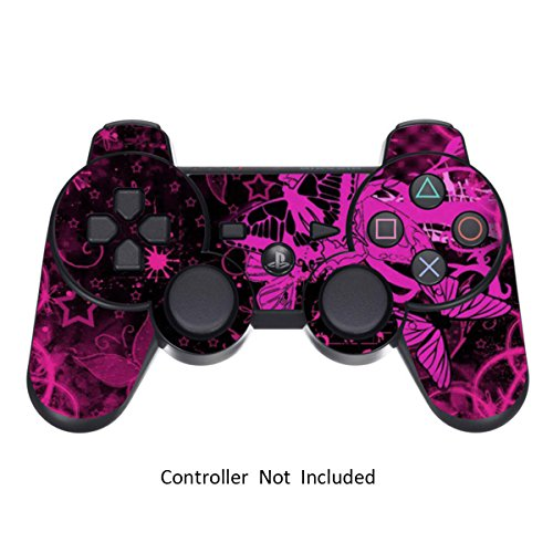 Batman Ps3-controller (Skins für PS3 PlayStation 3 Controller Decals Sony Dualshock 3 Konsolen Remote Wireless Controllers Skin Aufkleber - Pink Butterfly [Controller Nicht Enthalten])