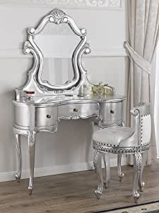 schminktisch ballerina mit sessel barock modern blatt silber kunstleder wei kn pfen swarovski. Black Bedroom Furniture Sets. Home Design Ideas