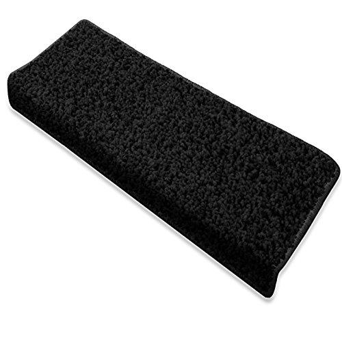 Copri gradini per scale - tappeto scale antiscivolo | vari colori, set da 15 - rettangolare - nero 23,5x65cm