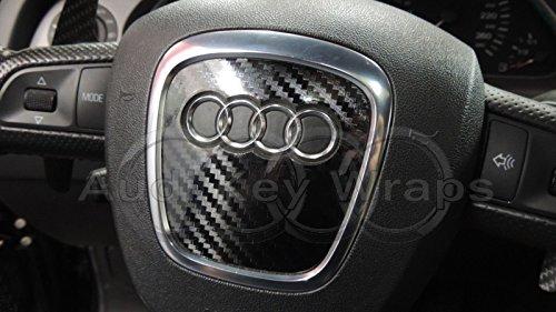 In fibra di carbonio nero lucido airbag Steering Wheel Wrap S RS A1A3A4A5A6A8TT Q3Q5Q7