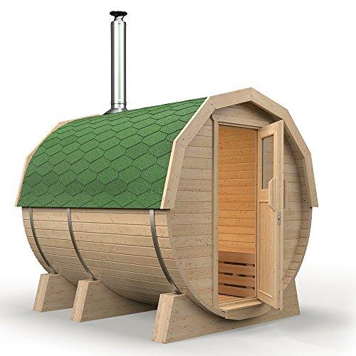 Fasssauna K1 Premium mit Holzofen HARVIA M3, aus Espenholz (grüne Dachschindeln)