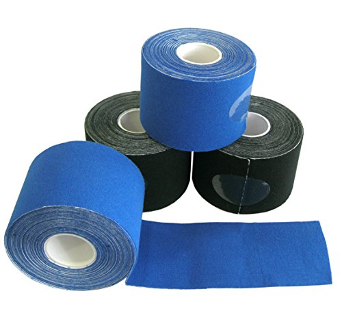 4 Rollen Kinesiologie Tape 5 m x 5,0 cm / 2x schwarz 2x blau