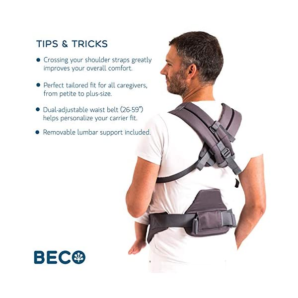 Beco 8 Adjustable Baby and Toddler Carrier. Fully Adjustable from 7 to 45lbs (Rust) Beco The Beco 8 is designed so you can carry your baby any way you want, the Beco 8 is a combination of all the features your heart could desire - from infancy to toddlerhood, wear your little one on your front facing-in, facing-out, on your hip or on your back. Ergonomic support for baby in all positions, while offering optimum comfort and flexibility for the wearer. With a sliding chest strap, fully adjustable, no longer removable. Multiple ergonomic carry positions - 2 Newborn positions (Infant Insert Included), 3 Infant positions (Front-Inward, Front-Outward, Hip), 2 Toddler positions (Front-Inward & Back Carry) The Beco 8 Also includes a fully integrated infant insert/boost ( which is fully removable). As well as a Lumbar support pad (fully removable) and a hood built-in to headrest support. The Beco has fully padded shoulder straps to avoid strain over longer journeys 6