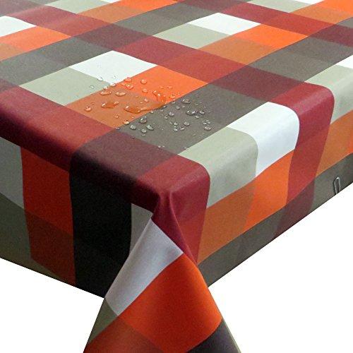 Meterware Stoff Farbe , Breite & Länge wählbar - Kariert Orange Rot TEFLON Eckig 140 x 300 bzw. 300x140 cm Tischdecke