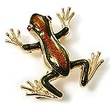 Chapado en oro esmalte broche con forma de rana (marrón y verde)