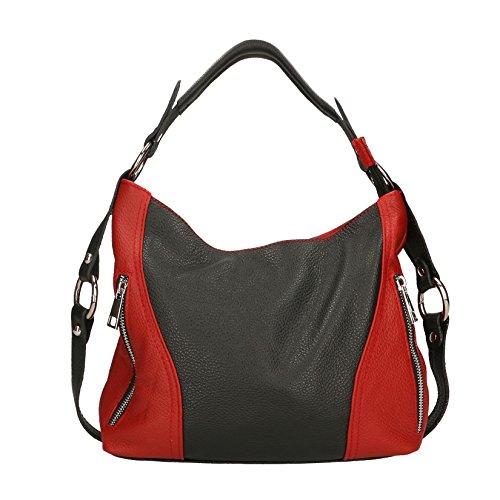 Chicca Borse Frau Clutch Kleine Schultertasche mit Leder Made in Italy echtem Schultergurt - 23x14x8 cm Schwarz Rot