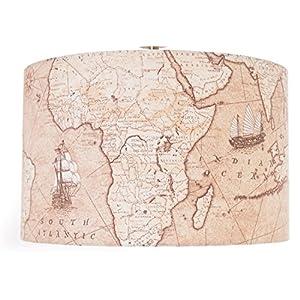 14«(35cm) Vintage marrón antiguo mapa del mundo lámpara de mesa