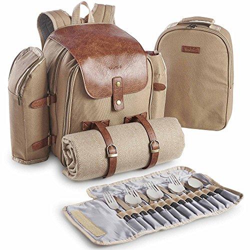 VonShef Canvas Picknick-Rucksack für 4 Personen/Tagesrucksack/ Rucksack mit Besteck, Geschirr, Picknickdecke & Kühlfach
