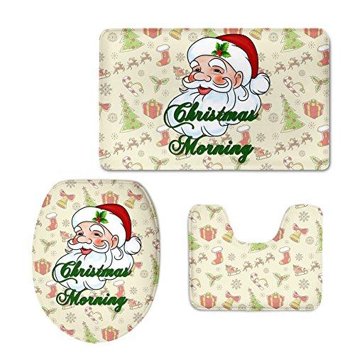 showudesigns Weihnachten Design Matte Set WC-Deckelbezug Badezimmer Teppich Teppich 3Stück, Flanell, color 3, M