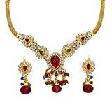 Surat Diamonds Red Coloured Stone & Gold Plated Fashion Necklace, Earring & Bangle Set for Women (PS27+PK3)