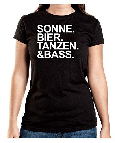 Certified Freak Sonne Bier Tanzen & Bass T-Shirt Girls Black-XXL (Liebe Bier T-shirt Girls)