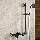 Hiendure® Bronze huilé Montage mural Robinet pour baignoire Robinet De Douche Mélangeur avec Barre solide Douche à main