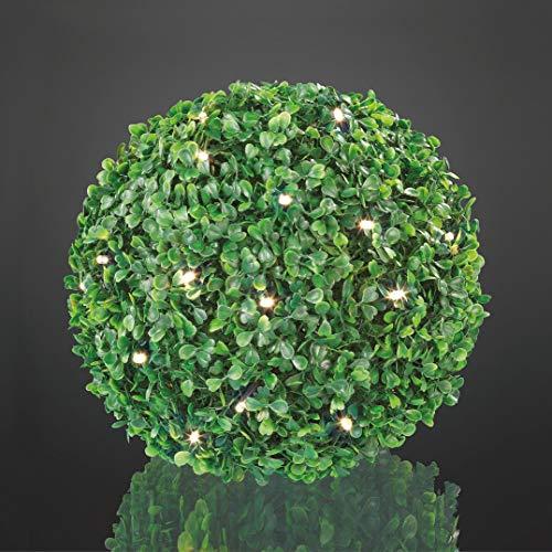 Hellum 350227 LED Buchsbaum-Kugel/Ø 25 cm / 30 LEDs warmweiß/innen & außen/Zuleitung 5 m grün/inkl. Außen-Transformator