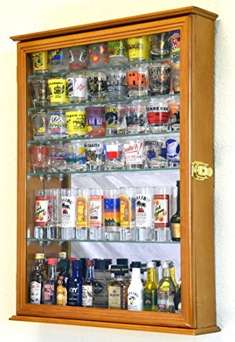 Large Mirror Backed and 7 Glass Shelves Shot Glasses Display Case Holder Cabinet , Oak by sfDisplay.com, Factory Direct Display Cases -