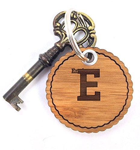 Mr. & Mrs. Panda Schlüsselanhänger Enrico - 100% handgefertigt aus Bambus Holz - Anhänger, Geschenk, Vorname, Name, Initialien, Graviert, Gravur, Schlüsselbund, handmade, exklusiv - Enrico Bambus