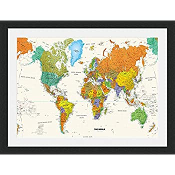 Large framed world map 54 x 38 amazon kitchen home coulourful world map framed mounted 40x30cm black frame gumiabroncs Choice Image