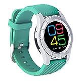 Bluetooth Smart Watch,QIMAOO 1.3 Zoll Sport Smart Handy Uhr Telefon Fitnessarmband mit Kamera SIM / TF Karten Slot Pedometer Touch Screen für iPhone Android IOS System Smartphone Grün((mit weißes Uhr Band))