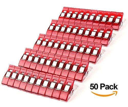 ilauke-lot-de-50pcs-clips-pinces-en-plastique-pour-reliure-couture-artisanat-clair-et-rouge