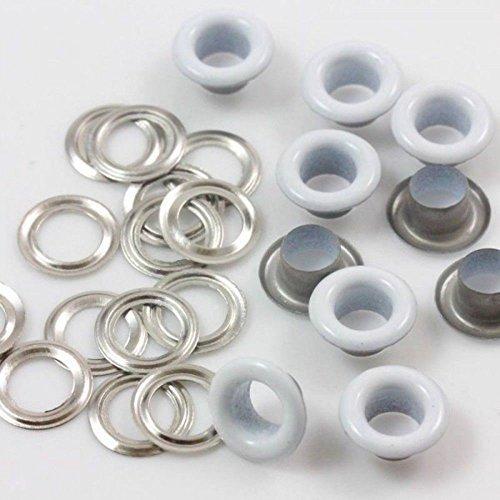 5mm Tüllen weiß Ösen mit Silber Unterlegscheiben für Stoff Vorhänge Leder Plane Vinyl Arts & Craft von trimmen Shop (Kleid Pullover Kabel Stricken)