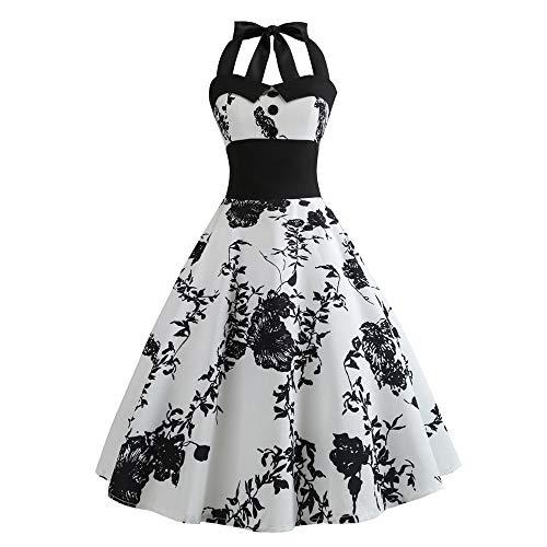 Minikleider Damen Vintage ärmelloses Neckholder Kleid Sexy Print Kleid Sommerkleid Dame Abendkleid Knielang Cocktailkleid Elegant Hochzeit Partykleid Maxikleider Swing Kleid -