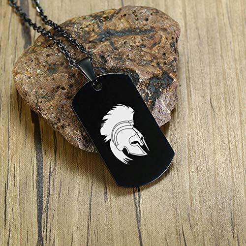 Spartans Herren-leder (VBNMG Herrenhalskette Herren Helm Hund Anhänger Halskette personalisierte geschnitzten Edelstahl Geschenk zum Geburtstag männlichen Schmuck)