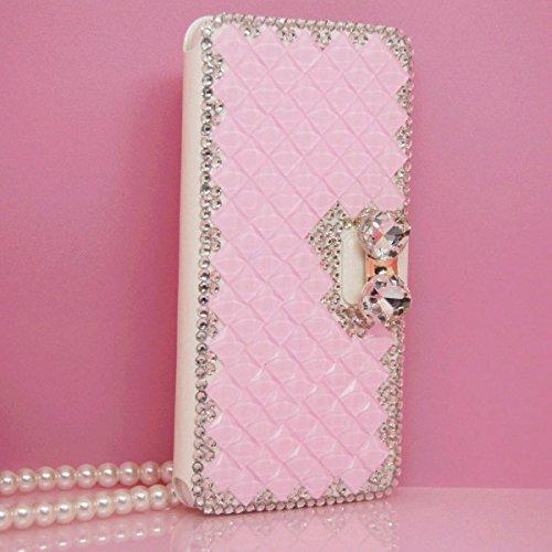 iPhone 6Plus/6S Plus Fall, Handwerk von jabit Luxus Bling Strass Wallet Schutzhülle Ultrathin magnetischem Ständer Kristall Leder Book Cover Schutzhülle Schutzhülle 4Farben, Rose