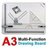 Yosoo Zeichenplatte Profil A3 mit Parallele Bewegung und Verstellbarer Winkel