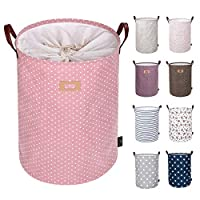 DOKEHOM 22-Inches Thickened X-Large Drawstring Laundry Basket Storage-(Available 19 and 22 Inches in 9 Colors)- with Durable Leather Handle, Cotton (Pink, XL)