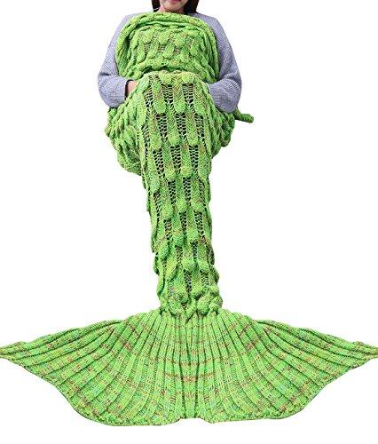 Iiniim adulti Teens Handcrafted crochet a maglia sirena coda coperta sacco a pelo divano letto, Poliestere, Apple Green, 92.0