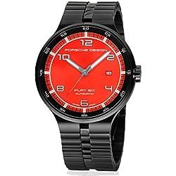 Porsche Design Flat Six Automatic Black PVD Steel Mens Watch Calendar Red Dial 6350.43.74.1254