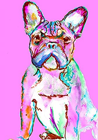 French Bulldog Wall art Print, Baby Pink Frowning Frenchie artwork by Oscar Jetson