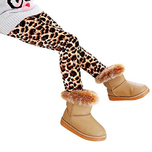 Niña Flor Impresión Leggings Elástico Pantalones Leggins Largos Gruesos para Otoño Invierno Leopardo 130