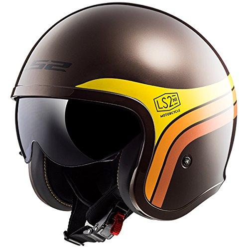 LS2 OF599Spitfire offene Gesicht Motorrad-Helm, braun, S(55-56cm) (Braun 6 Gesicht)
