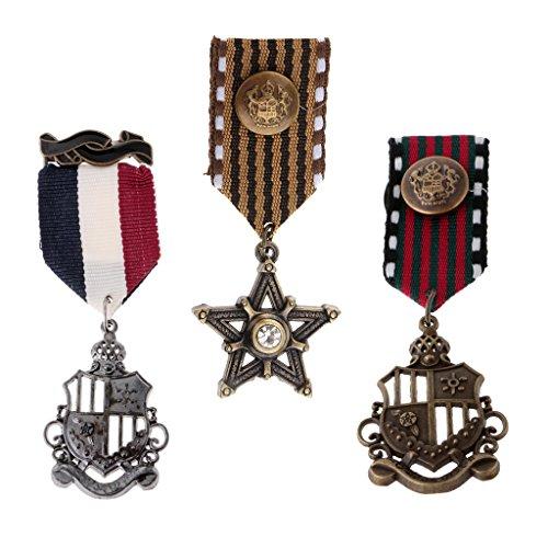 Sharplace 3 Piezas Broche de Forma Medalla Insignia Estilo Vintage Retro Diseño Clásico Unisex