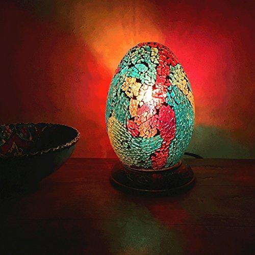 PIAOLING Ägyptische Farbe Ei Tischlampe, retro romantische handgefertigte Glas Lampe, Schlafzimmer...