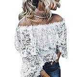 Linkay T Shirt Damen Kurz Schlaghülse Bluse Tops Gedruckter Punkt Oberteile Mode 2019 (Weiß, Small)