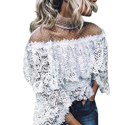 Linkay T Shirt Damen Kurz Schlaghülse Bluse Tops Gedruckter Punkt Oberteile Mode 2019 (Weiß, Large) -