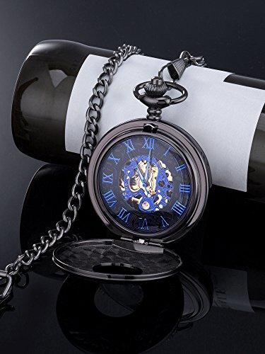 Blau-Retro-Roman-Ziffern-Skale-Doppelt-ffnen-Kette-Mechanische-Taschenuhr-fr-Herren-Vatertag-Geschenk