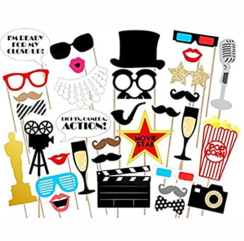 Losuya Funny Photo Booth Props Kit Paper Movie Night Hollywood Party Photobooth Props for Wedding, Birthday, Bachelorette Party 33pcs DIY Mustache, Glasses, Lips, Movie Sign and