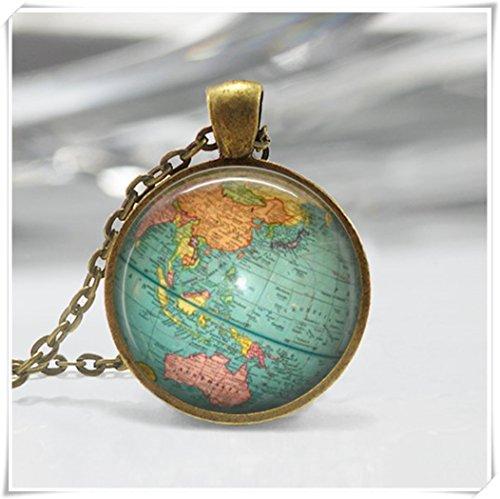Planet Halskette (Vintage Globe Halskette Planet Earth Weltkarte Anhänger)