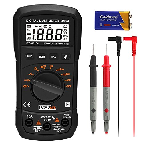 Multimètre Numérique, Tacklife DM03 Multimètre, avec Double Fusibles/Maintien de Valeur Max /Test de Tension Courant AC&DC , Résistance, Fréquence, Diodes/Ecran LCD Rétroéclairé