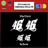 4x Valentino Rossi Aufkleber für Autos Motorräder Helme, Auswahl von Farben (weiß)