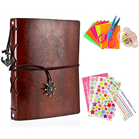 Foonii Retro Photo Album Sets With DIY Tools, PU Leather Family Photo Album Anniversary Sketchbook, Wedding Album-60Pages (Brown)