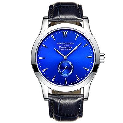 New Limited Edition Anthony James Blue Distinction Leather Strap Mens Quartz Wrist Watch PRIME DAY SALE