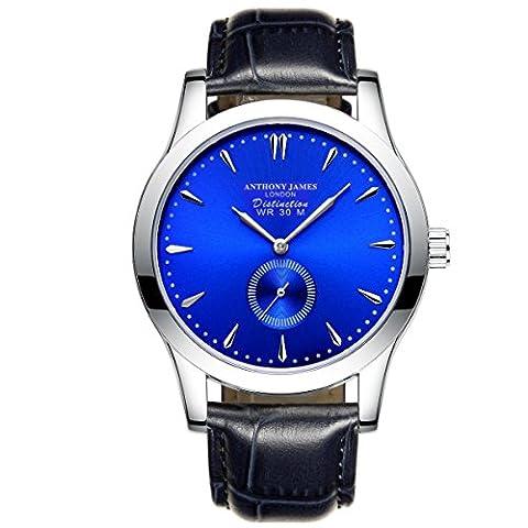 Neue Limited Edition Anthony James Blue Distinction Lederband Herren Quarz Armbanduhr