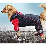 VICTORIE Impermeabile per Cani Poncho Antipioggia Vestiti Mantellina Cappuccio Riflettente Regolabile per Medie e Grandi Cani Animali Nero+Rosso 6XL