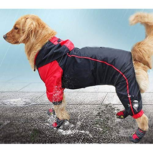 VICTORIE Hund Regenmantel Poncho Regensjacke Wasserdicht Reflektierende für große Mittlere Hund Schwarz+Rot 5XL